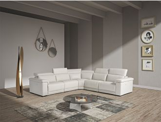 Estro Salotti Palinuro - White Leather Sectional Sofa with Recliners