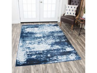 Kaaleen Panache Contemporary Ivory Blue 7.8' x 10.8' Rug