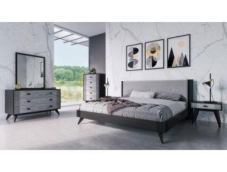 Nova Domus Panther Contemporary Grey & Black Bedroom Set