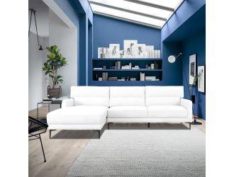 Divani Casa Paraiso - Modern White Fabric Left Facing Sectional Sofa