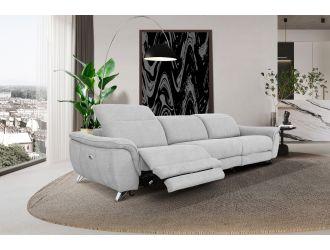 Divani Casa Paul - Contemporary Grey Fabric 4-Seater Sofa w/ Electric Recliners