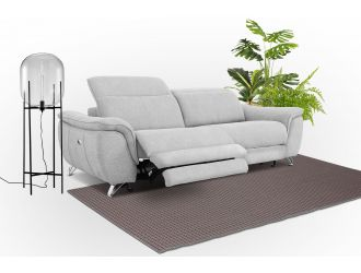 Divani Casa Paul - Contemporary Grey Fabric 3-Seater Sofa w/ Electric Recliners