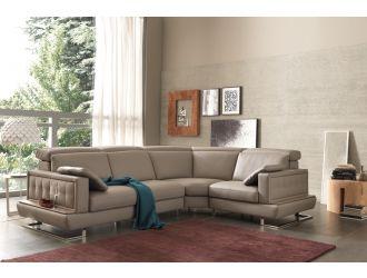 Estro Salotti Pegaso Modern Taupe Leather Sectional Sofa