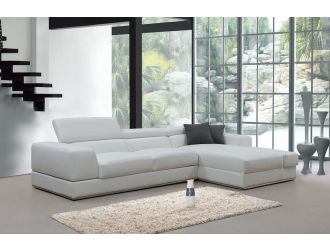 Divani Casa Pella Mini - Modern White Leather Right Facing Sectional Sofa