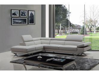 Divani Casa Quebec - Modern Light Grey Eco-Leather Left Facing Sectional Sofa