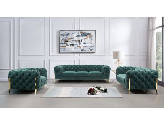Divani Casa Quincey - Transitional Emerald Green Velvet Sofa Set