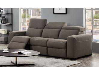 Divani Casa Raywick Modern Brown Fabric Sofa w/ 2 Recliners