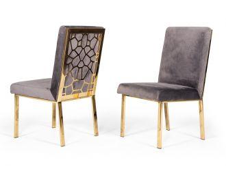 Modrest Reba Modern Grey Velvet & Gold Dining Chair (Set of 2)