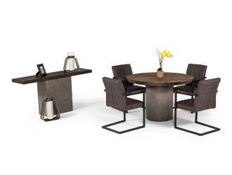 Modrest Renzo Modern Round Oak & Concrete Dining Table