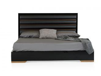 Nova Domus Romeo Italian Modern Black & Rosegold Bed