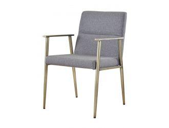 Modrest Sabri - Contemporary Grey & Antique Brass Arm Dining Chair