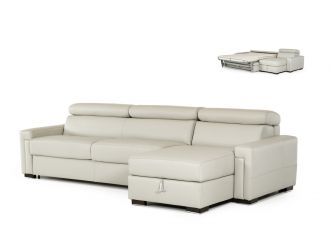 Estro Salotti Sacha - Modern Grey Leather Reversible Sectional Sofa Bed with Storage