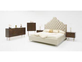 Modrest Sandra Transitional Light Grey Fabric Bed