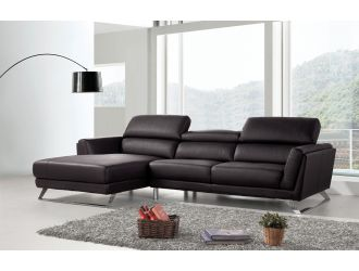 Divani Casa Doss - Modern Black Eco-Leather Left Facing Sectional Sofa
