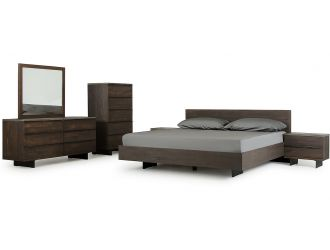 Modrest Selma Modern Dark Aged Oak & Concrete Bedroom Set