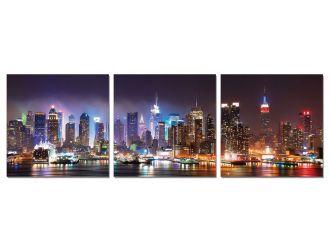 Modrest Cityscape 3-Panel Acrylic Painting