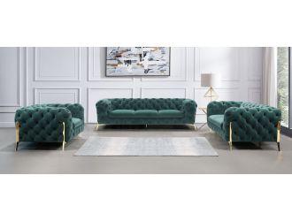 Divani Casa Sheila - Modern Emerald Green Fabric Sofa Set