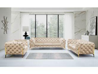 Divani Casa Sheila - Transitional Light Beige Fabric Sofa Set