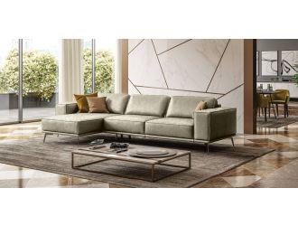 Coronelli Collezioni Soho - Italian Laft Facing Grey Maya Cloud Leather Sectional Sofa