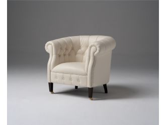 Estro Salotti Spark Modern White Leather Lounge Chair