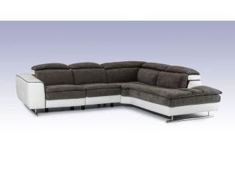 David Ferrari Starlight - Italian Modern Grey Fabric + White Leather Right Facing Sectional Sofa