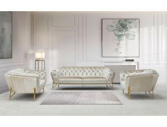 Divani Casa Stella - Transitional Beige Velvet Sofa Set