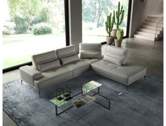 Coronelli Collezioni Sunset - Contemporary Italian Grey Leather Right Facing Sectional Sofa