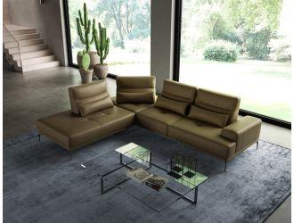 Coronelli Collezioni Sunset - Contemporary Italian Kiwi Leather Left Facing Sectional Sofa