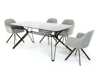 Modrest Synergy Mid-Century Smoked Glass Dining Table