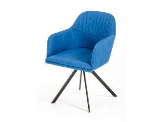 Modrest Synergy Mid-Century Blue Fabric Dining Arm Chair