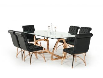 Modrest Oro Rosa Modern Clear Glass & Rosegold Large Dining Table