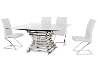 Modrest Crawford Contemporary Clear Glass Square Dining Table