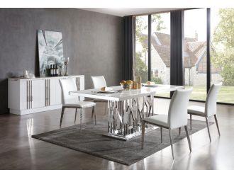 Modrest Marston Modern White Marble & Stainless Steel Dining Table