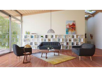 Divani Casa Afton Mid-Century Grey Fabric Sofa Set