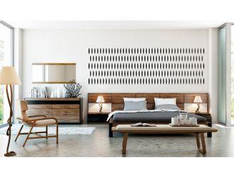 Modrest Rondo Mid-Century Walnut Bedroom Set