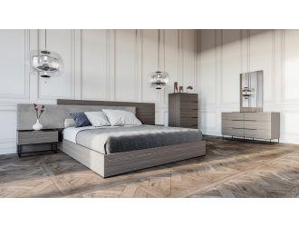Nova Domus Enzo Italian Modern Grey Oak & Fabric Bedroom Set
