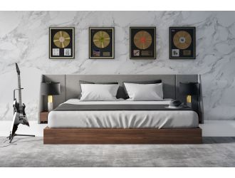 Nova Domus Janice - Modern Grey Fabric and Walnut Bed and Nightstands