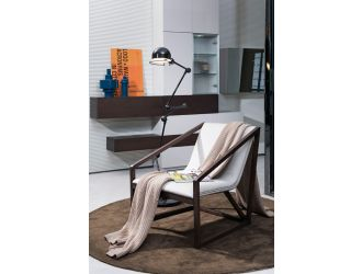 Divani Casa Taranto - Modern Grey Eco-Leather Lounge Chair