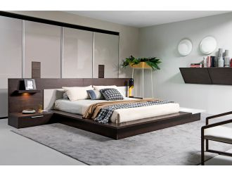 Modrest Torino Contemporary Brown Oak & Grey Platform Bed w/ Lights