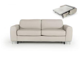 Estro Salotti Tourquois Italian Modern Light Grey Leather Sofa Bed