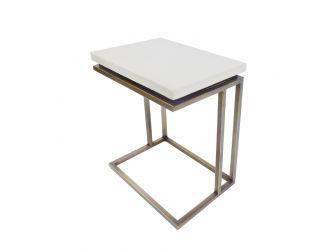 Modrest Lansing Modern White Concrete & Antique Brass End Table