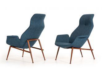Modrest Kara Modern Blue Fabric Lounge Chair