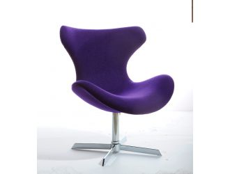 Modrest Aludra Mid-Century Purple Fabric Lounge Chair