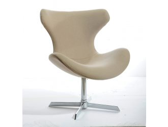 Modrest Aludra Mid-Century Beige Fabric Lounge Chair