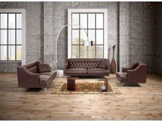 Estro Salotti Ulysses Modern Brown Italian Leather Sofa Set