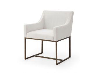 Modrest Elijah - Modern Off White & Copper Antique Brass Dining Chair
