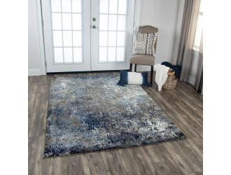 Kaaleen Valencia Contemporary Silver and Blue 8.8' x 11.8' Rug