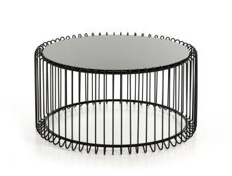 Modrest Beacon Contemporary Black Round Coffee Table