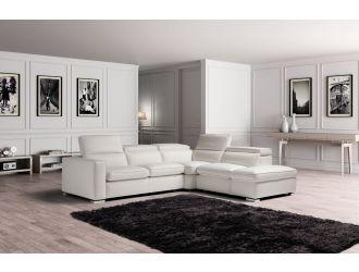 Estro Salotti Vertigo - Modern White Leather Right Facing Sectional Sofa with Storage
