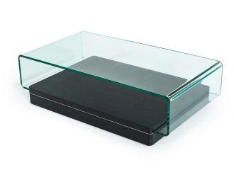 Vitro Modern Glass and Oak Coffee Table